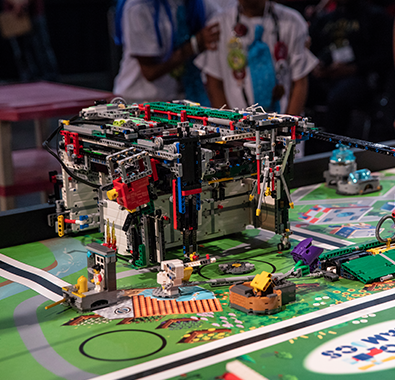 FIRST LEGO League robot at competition