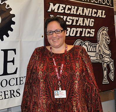 STEM teacher and robotics coach Monique Dituri poses in her classroom in Clifton, NJ.