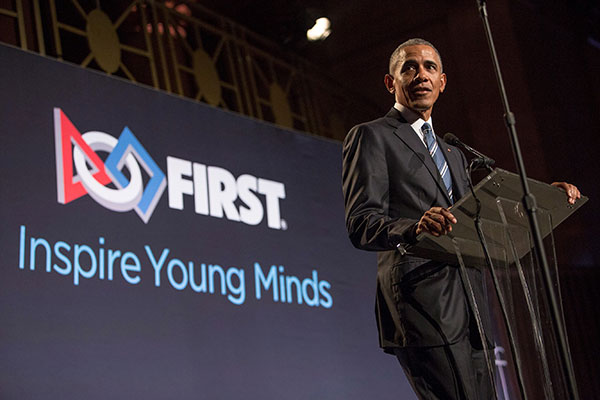 FIRST honors President Barack Obama for his significant contributions to spreading the mission and impact of FIRST