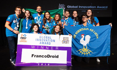 FIRST LEGO League team FrancoDroid from Rio de Janeiro, Brazil, received the Global Innovation Award for their innovative solution for long-duration space travel that helps make space travel more accessible for women.