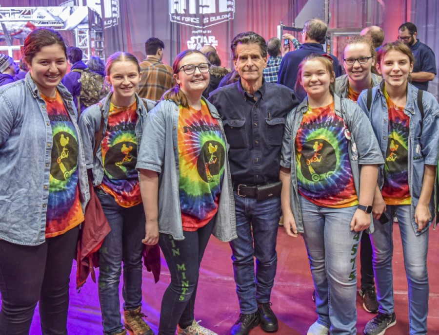 FIRST Founder Dean Kamen (center) pictured with student team members at the FIRST Robotics Competition Kickoff which was broadcasted from Manchester, N.H. to nearly 100,000 high school students on 3,898 teams watching from around the world.