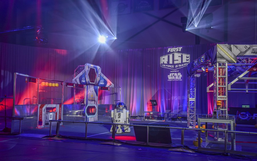 Today at Southern New Hampshire University in Manchester, N.H., FIRST unveiled the game field for INFINITE RECHARGE, a new robotics game part of the FIRST RISE, powered by Star Wars: Force for Change, season.
