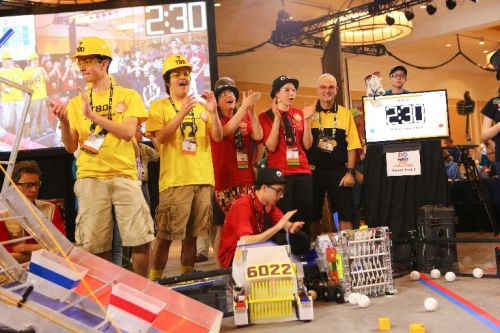 Figure 3. FIRST Tech Challenge teams of students in grades 7–12 build robots, powered by Android technology, that compete in a floor-based game. (Source: Lara Longo, courtesy of FIRST.)