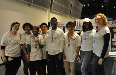 "Team ""Hydrosquad"" poses for a photo during District 75's FIRST LEGO League Jr. Expo."