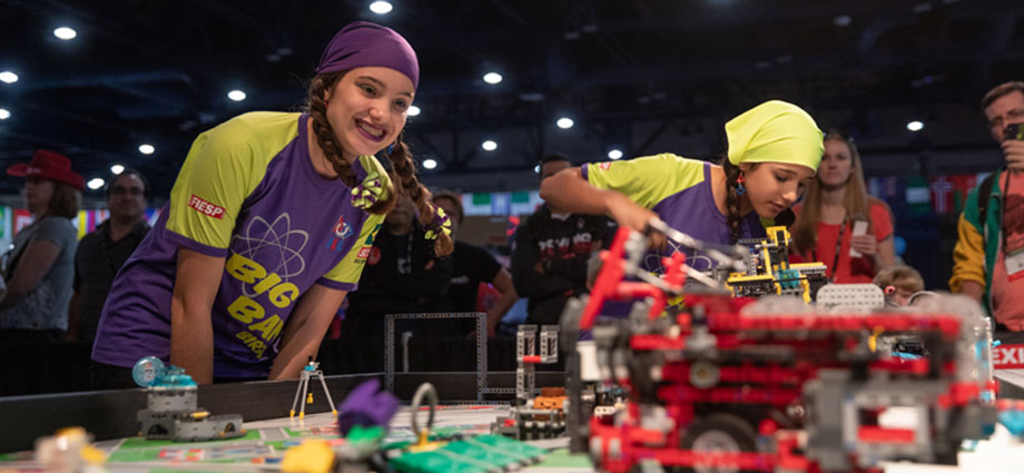 "Students from FIRST LEGO League team ""SESI Big Bang"" from Birigui, Brazil, compete during the FIRST LEGO League World Festival at FIRST Championship Houston."