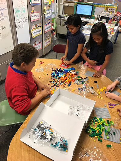 Students collaborate on a model for AQUA ADVENTURE.