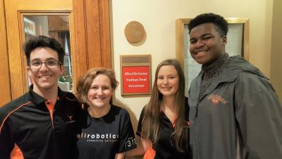 Kell Robotics students visit the office of Georgia governor Nathan Deal to advocate for STEM education.