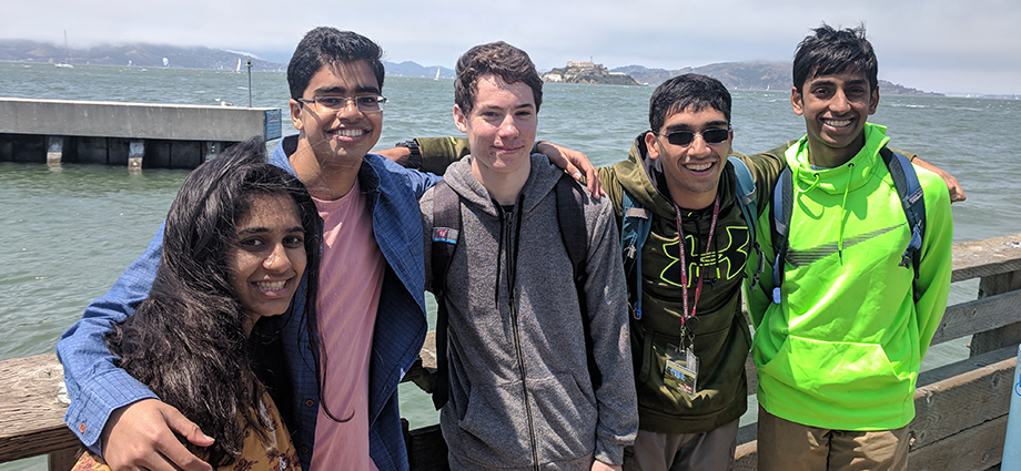 Five FIRST students who participated in the 2018 Apple Engineering Technology Camp visit Alcatraz in San Francisco.