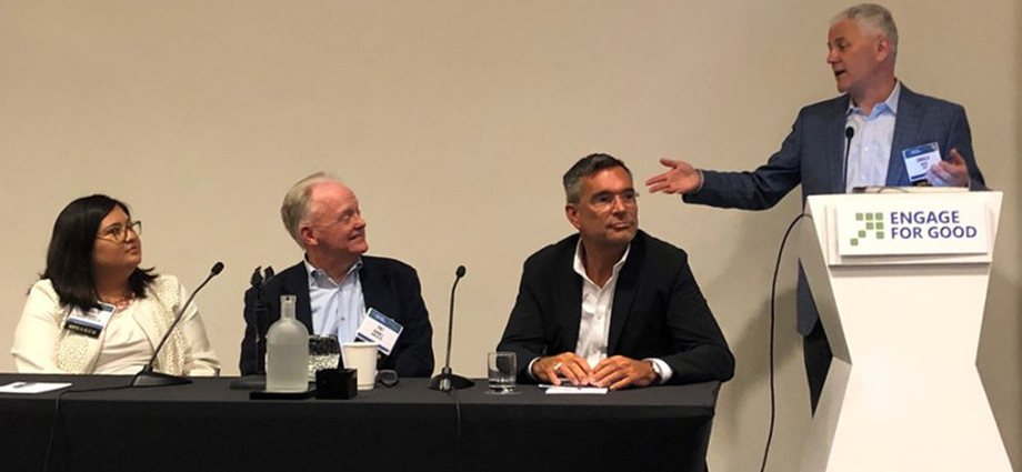 FIRST President Don Bossi moderates a panel featuring Patricia Contreras (Rockwell Automation), Pat Barnes (John Deere), and John Blazey (Boeing) at Engage for Good on May 30, 2019.