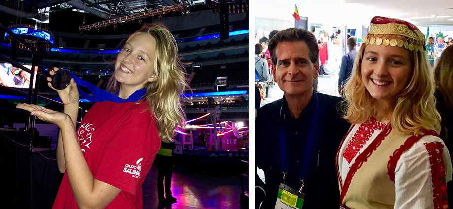 "The author, Julianna Schneider, with FIRST founder Dean Kamen (right) and displaying team's second-place medal for the ""Katherine Johnson Award for Engineering Documentation"" award (left) at the 2018 FIRST Global Challenge in Mexico City."