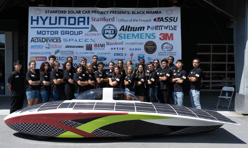 The 2019 Stanford Solar Car Project team with Black Mamba