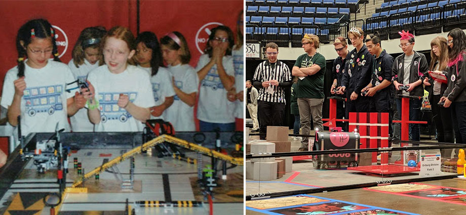Members of the Ponytail Posse compete in a FIRST LEGO League tournament during the 2009-2010 season (left) and a FIRST Tech Challenge tournament during the 2017-2018 season (right).