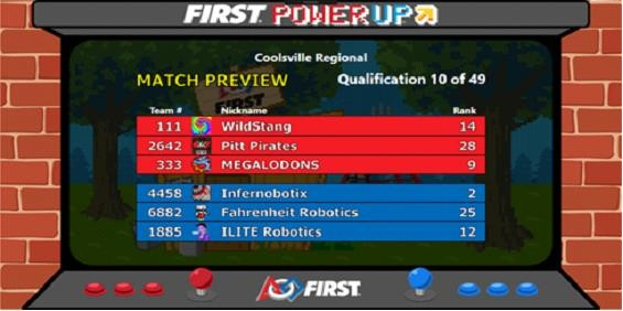 FIRST Power Up Match Preview Screen FIRST Robotics Competition