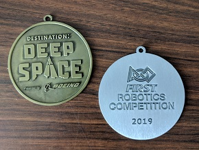 2019 Destination:Deep Space medals FIRST Robotics Competition