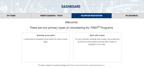 Dashboard with Volunteer Registration Tab FIRST Robotics Competition