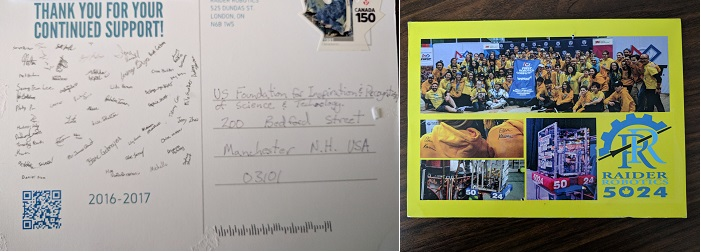 Thank you card Example from FIRST Robotics Competition Team 5024 Raider Robotics