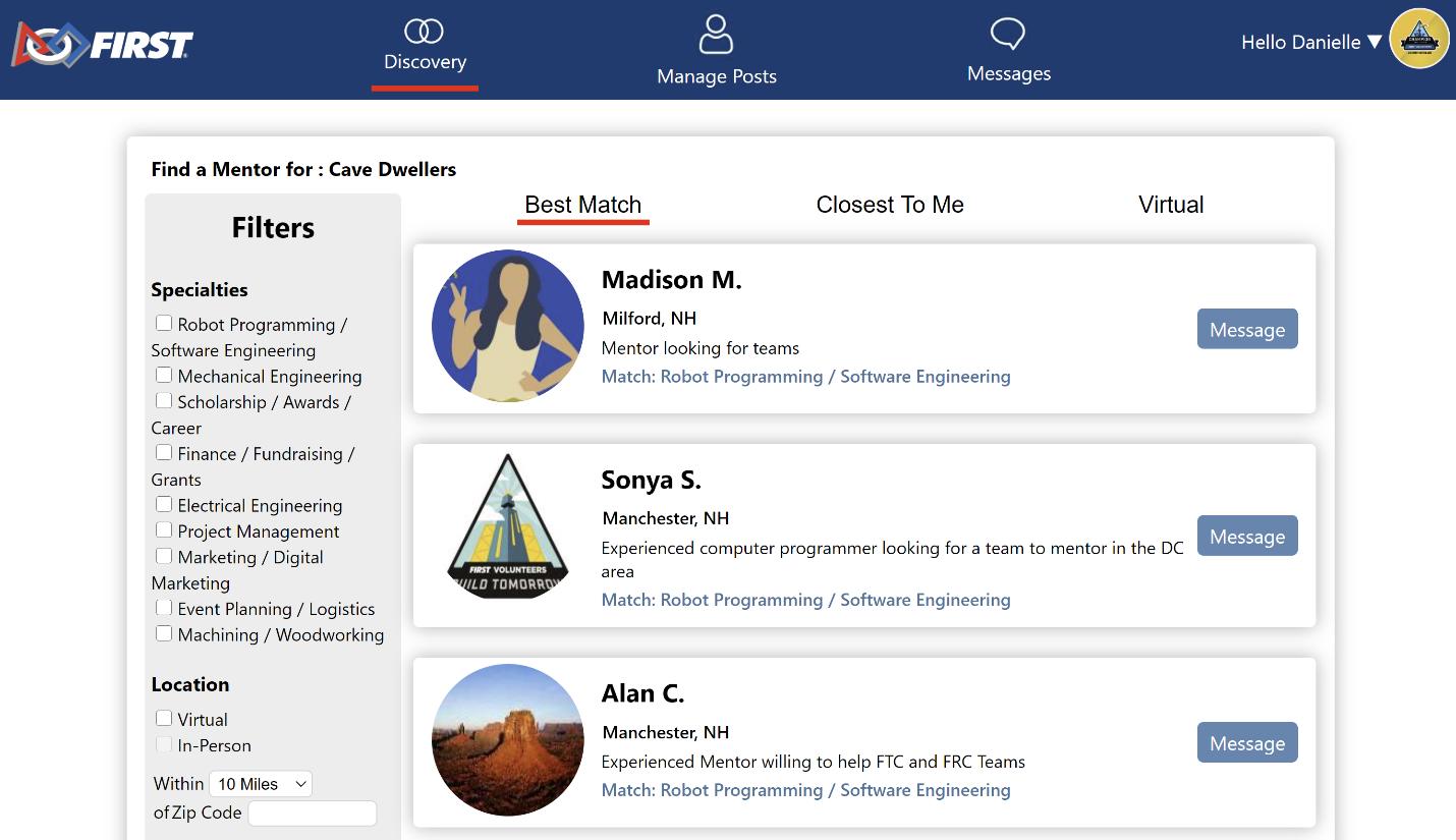 FIRST Mentor Network screenshot