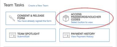 Access Passwords and Voucher Code Button in Team Registration System FIRST Robotics Competition