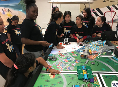 A FIRST LEGO League team from Compton Unified School District competes in California.