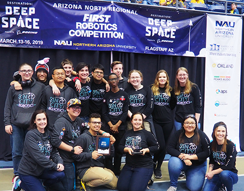 "Melanie mentors Team 7424 ""Sin City Robotics,"" which won the Rookie All Star Award at the Arizona North Regional in 2019."