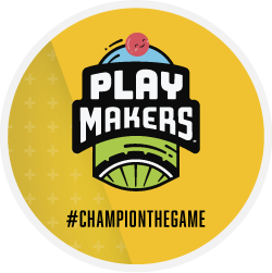 Play Makers logo Champion the game yellow badge
