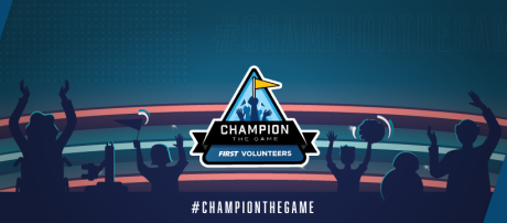 FIRST Volunteers Champion the Game logo on crowd background FB header
