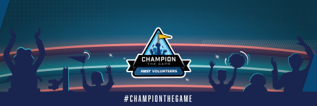 FIRST Volunteers Champion the Game on crowd background Twitter header