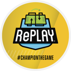 RePlay logo Champion the Game yellow badge