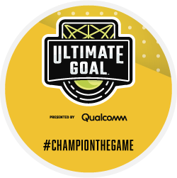 Ultimate Goal presented by Qualcomm logo Champion the Game yellow badge