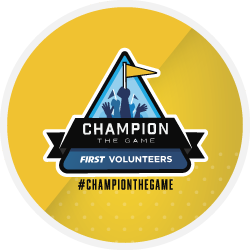 First volunteers Champion the Game logo on yellow badge